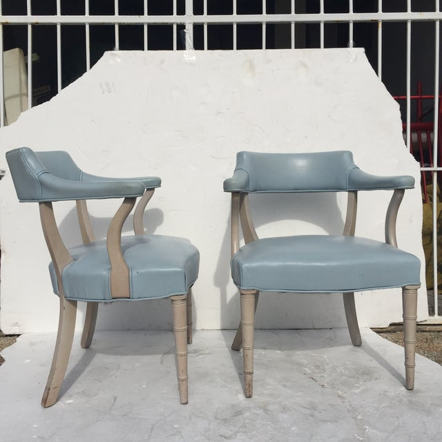 Faux Bamboo Captain's Chairs - A Pair - Image 2 of 10