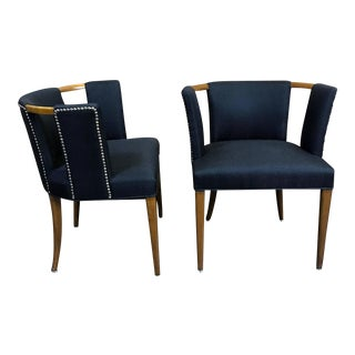 Robsjohns-Gibbings Style Club Chairs with Pierced Backs - A Pair