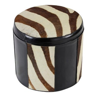 Black Leather and Zebra Patterned Cow Hide Hassock or Foot Stool For Sale