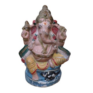 Polychromatic Terra Cotta Ganesh Figurine For Sale