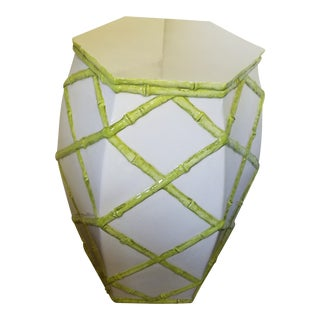 1970's Hollywood Regency Italian White Garden Stool With Lime Bamboo Decoration For Sale