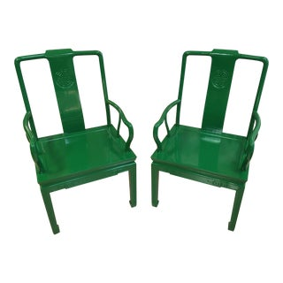 1970s Vintage Chinoiserie Armchairs in High Gloss Kelly Green For Sale