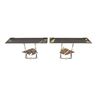 Jean-Jacques Argueyrolles Console Tables Wrought Iron Gold Leaf 1990 - A Pair For Sale