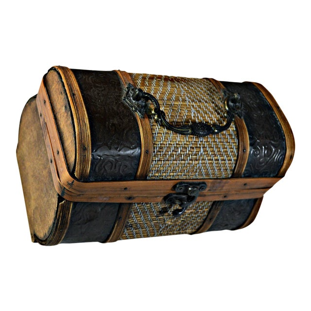Brass & Wood Coffer for Cigars - Image 1 of 7