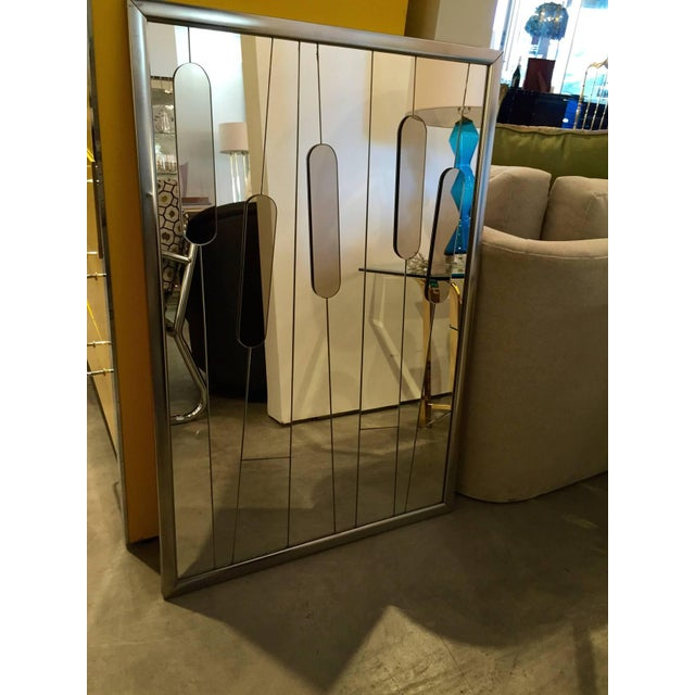 """Mid Century Modern Chrome and Cut-Glass """"Cat Tails"""" Mirror - Image 6 of 6"""