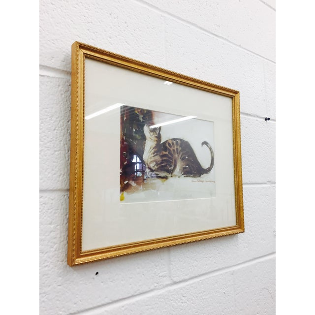 Tabby Cat Watercolor Print in Gold Frame - Image 6 of 7