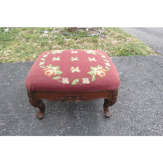French Carved Needlepoint Tapestry Small Ottoman Footstool Bench For Sale - Image 10 of 13