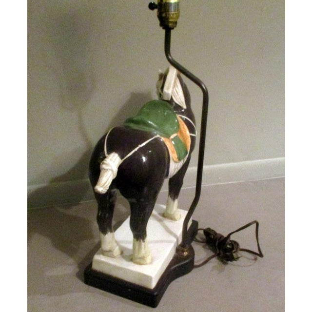 Chinese Vintage Chinese Tang Style Ceramic Horse Table Lamp For Sale - Image 3 of 10