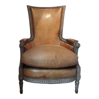 Antique French Louis XVI Style Bergere With Distressed Leather Upholstery For Sale