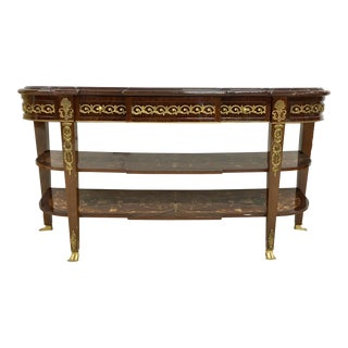 French Marquetry Console With Bronze Trim For Sale