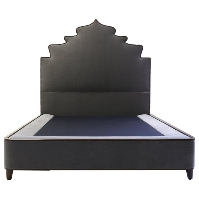 Wood Queensize Bed With Carved Headboard With Nailheads and Covered Base on Wood Legs For Sale - Image 7 of 7