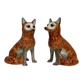 Italian Ceramic Fox Bookends – a Pair For Sale