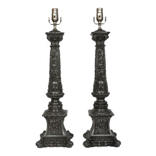 1940s Vintage Pewter Colored Banquet Lamps - A Pair For Sale