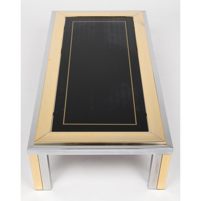 1950s Vintage Romeo Rega Chrome and Brass Coffee Table For Sale - Image 5 of 11