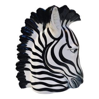 1980s Fitz and Floyd Ceramic Zebra Vase For Sale