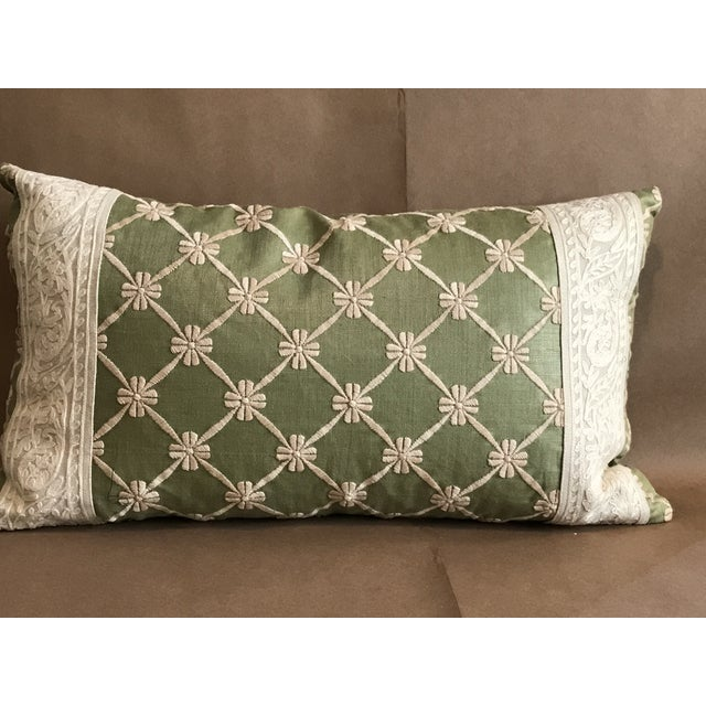 Green pillow w/ natural embroidered flower lattice. Great lumbar. A pretty wide decorative band has been added to either...