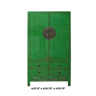 Chinese Distressed Emerald Green Tall Wedding Armoire Wardrobe Tv Cabinet Preview