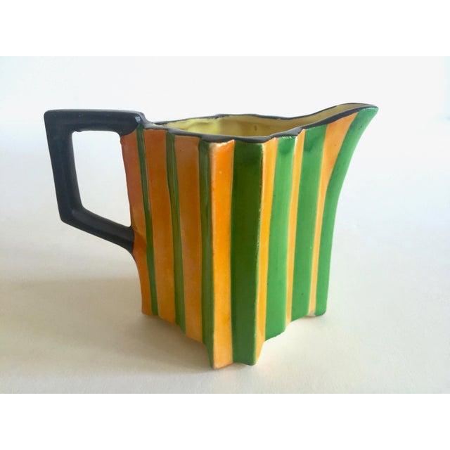 Rare Vintage 1930's Art Deco Japan Art Pottery Hand Painted Modernist Ceramic Cream & Sugar Serving Set For Sale In Kansas City - Image 6 of 13
