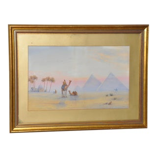 19th Century Watercolor Pyramids at Giza For Sale