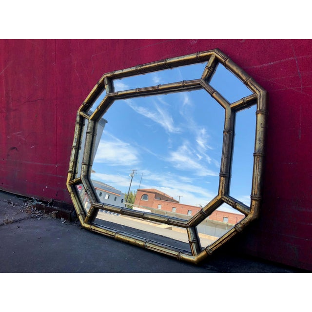 Striking original vintage, Mid-Century Modern and Hollywood Regency-inspired, octagonal faux bamboo, gold-gilt wall...