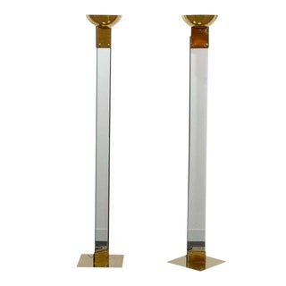 Amazing Pair of Vintage Italian Brass and Glass Torchieres For Sale