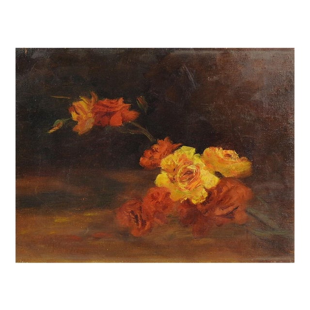Yellow Roses Impressionist Still Life Painting For Sale
