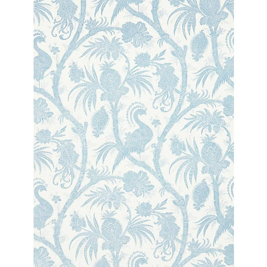 Traditional Scalamandre Balinese Peacock Wallpaper, Sky For Sale - Image 3 of 3