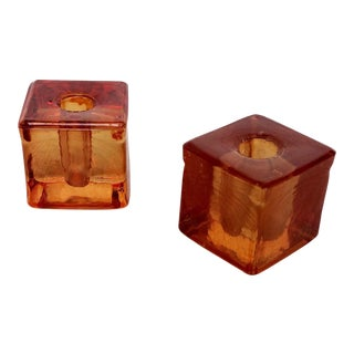 Vintage Orange Glass Candle Holders - a Pair For Sale