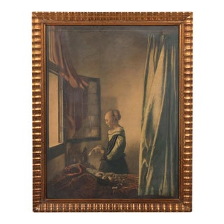 Late 19th-C. Portrait of a Young Lady Looking Out a Window For Sale