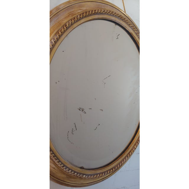 Distressed Gilt Oval Antiqued Mirror Hung by Rope For Sale - Image 10 of 11
