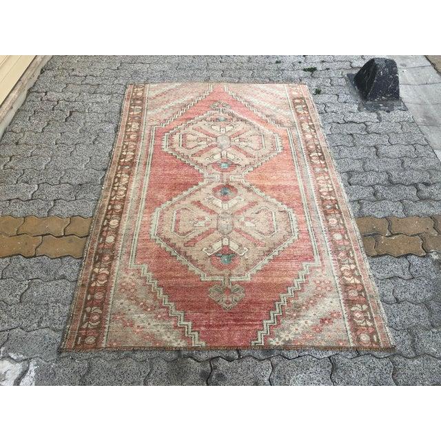Oushak Handmade Distressed Antique Floor Carpet For Sale - Image 11 of 11
