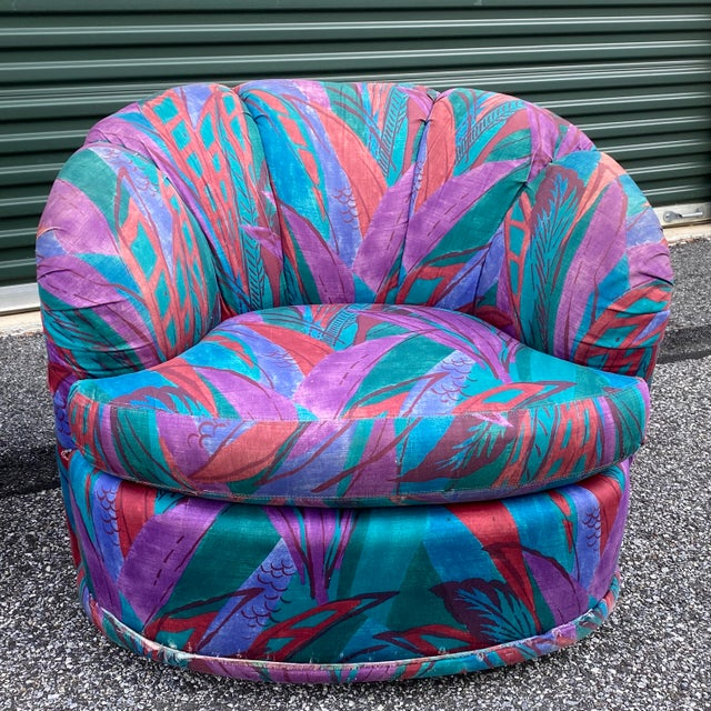 Boho Chic 1980s Modern Swivel Chairs by American of Martinsville - a Pair For Sale - Image 3 of 13