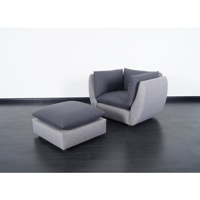 """Mid century modern lounge chair & ottoman in the manner of Milo Baughman. Dimensions for ottoman: 26.5""""W x 26.5""""D x 15""""H...."""
