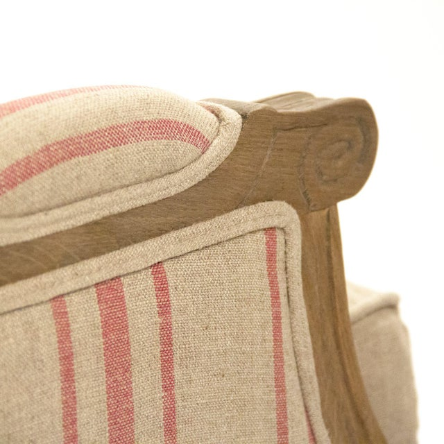 Audley Sofa in Khaki Linen with Red Stripes For Sale - Image 4 of 5