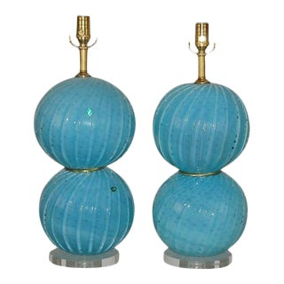 Vintage Murano Opaline Glass Ball Table Lamps in Blue- A Pair For Sale