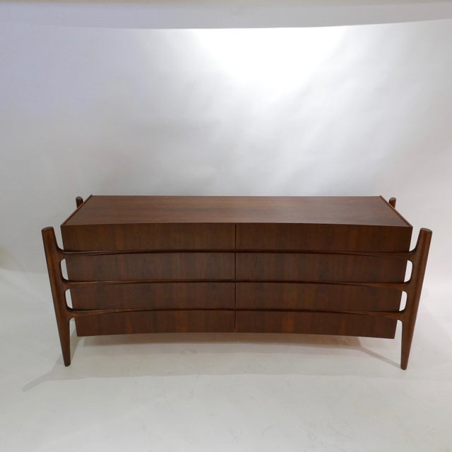 Stilted Curved Scandinavian Mid-Century Modern William Hinn Chest or Dresser For Sale - Image 10 of 13