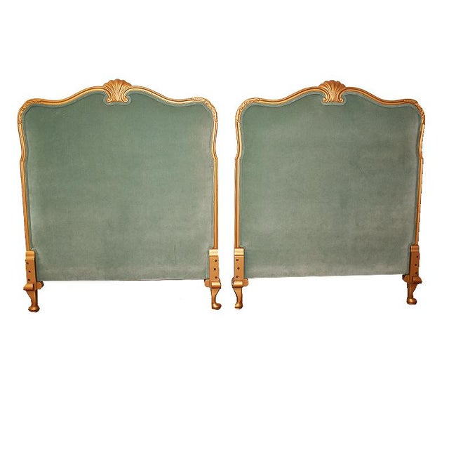Gilt Wood Shell Motif Neoclassical Green Velvet Twin Upholstered Headboards - a Pair For Sale - Image 4 of 4
