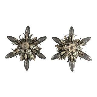 Mid-Century Italian Design Metal Silver Plated Sunburst Flush Mount Sconces- a Pair For Sale