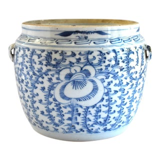 Antique 19th-Century Chinese Kamcheng Blue and White Jar For Sale