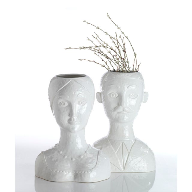 White Glazed Ceramic Female Head Vase For Sale - Image 4 of 4