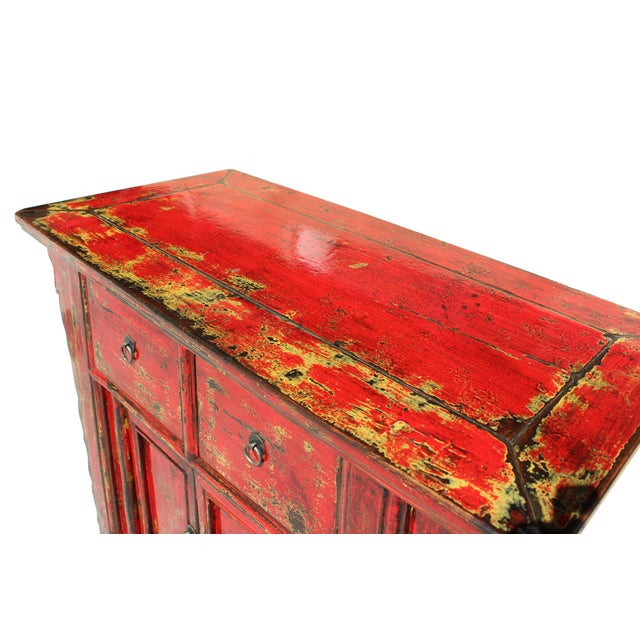 Chinese Rustic Rough Wood Distressed Red Side Table Cabinet For Sale In San Francisco - Image 6 of 9