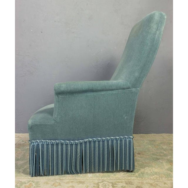 19th Century French Faded Blue Velvet Armchair - Image 8 of 11