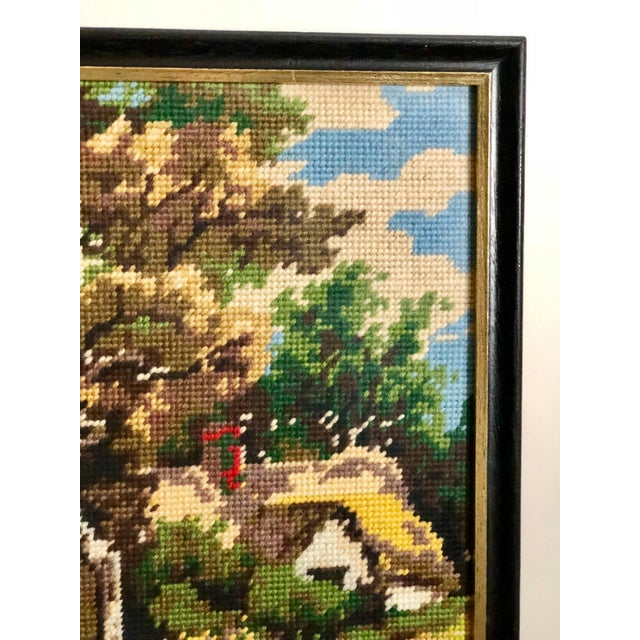 Americana Vintage Needlepoint Tapestry of an English Landscape For Sale - Image 3 of 9