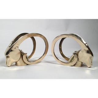 Brass Ram's Head Bookends - Pair Preview