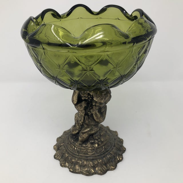 Green Crystal and Brass Cherub Compote Epergne For Sale - Image 8 of 8