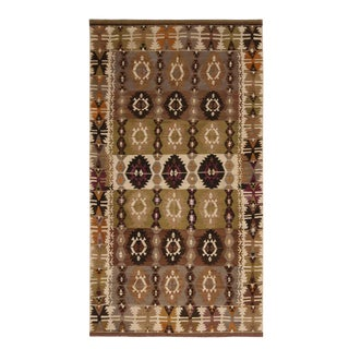 Vintage Mid-Century Beige-Brown and Green Wool Kilim Rug- 5′1″ × 9′1″ For Sale
