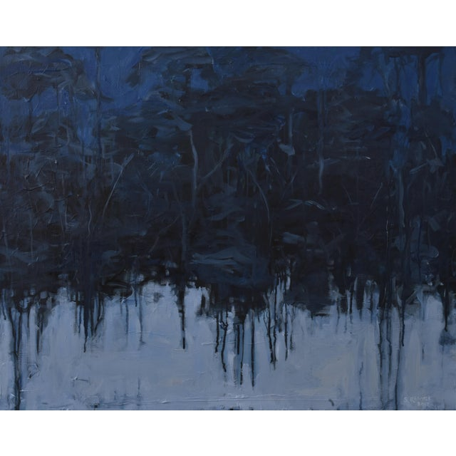 "Blue ""Lovely, Dark and Deep"" Original Painting For Sale - Image 8 of 8"