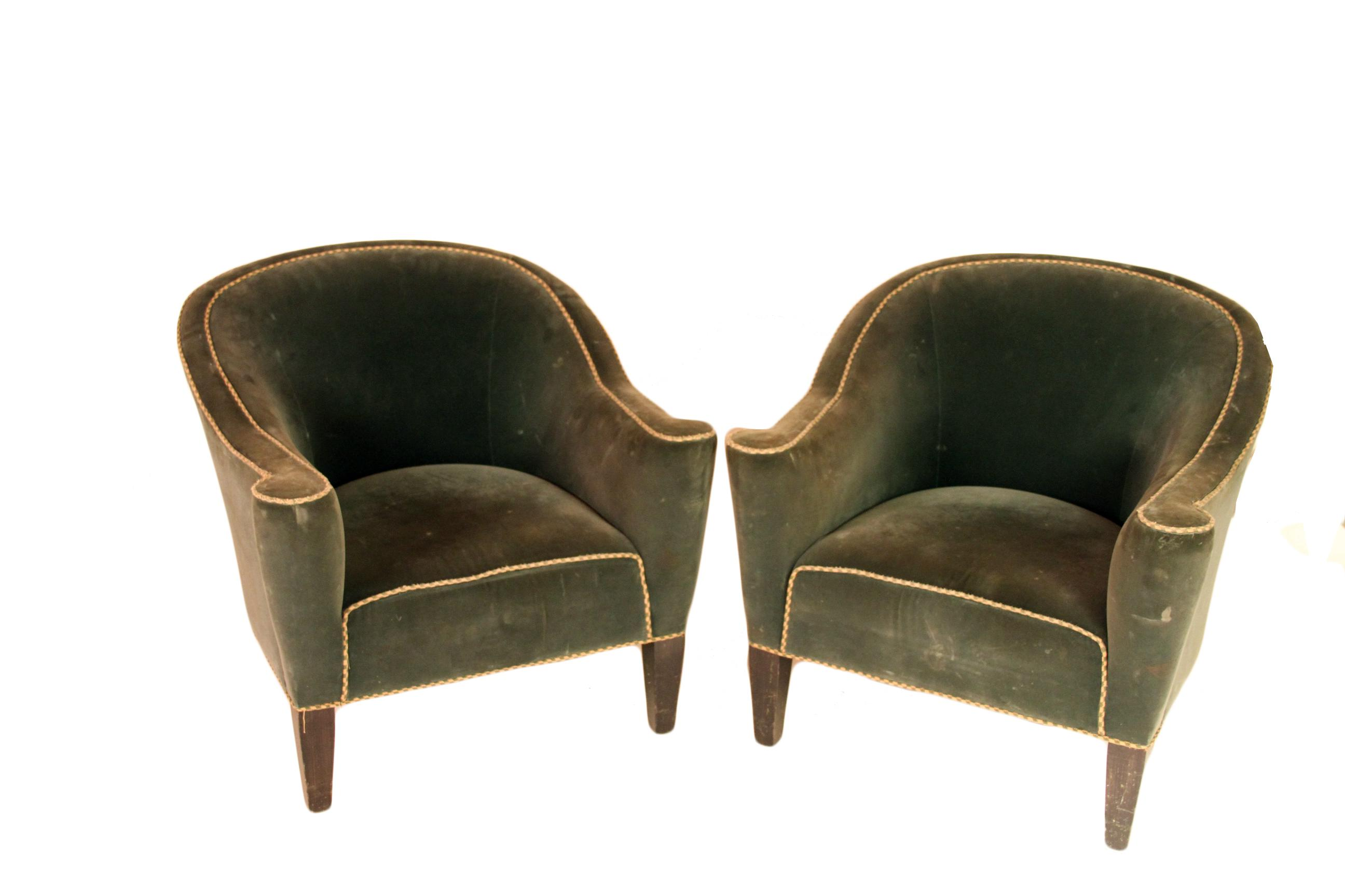 Art Deco Round Back Club Chairs   A Pair   Image 6 Of 6