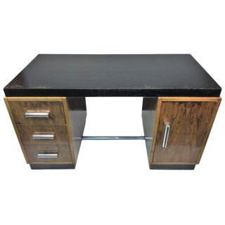 GREAT ART DECO GILBERT ROHDE TWO TONE DESK WITH THICK TUBULAR CHROME HANDLES For Sale