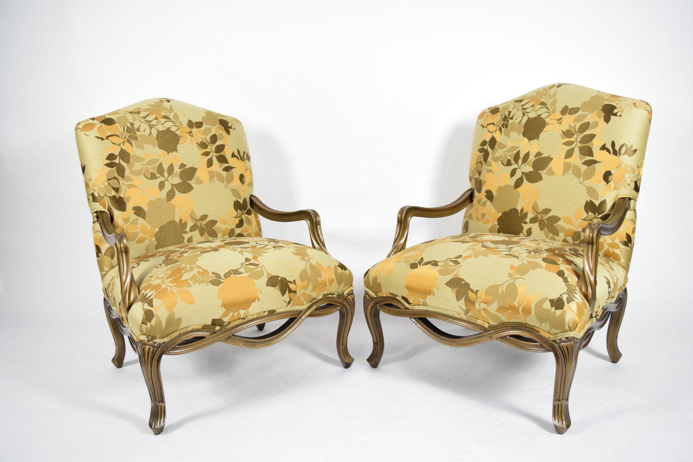 This Is A Custom Designed Pair Of Louis XVI Style Lounge Chairs With  Oversized Seats Upholstered